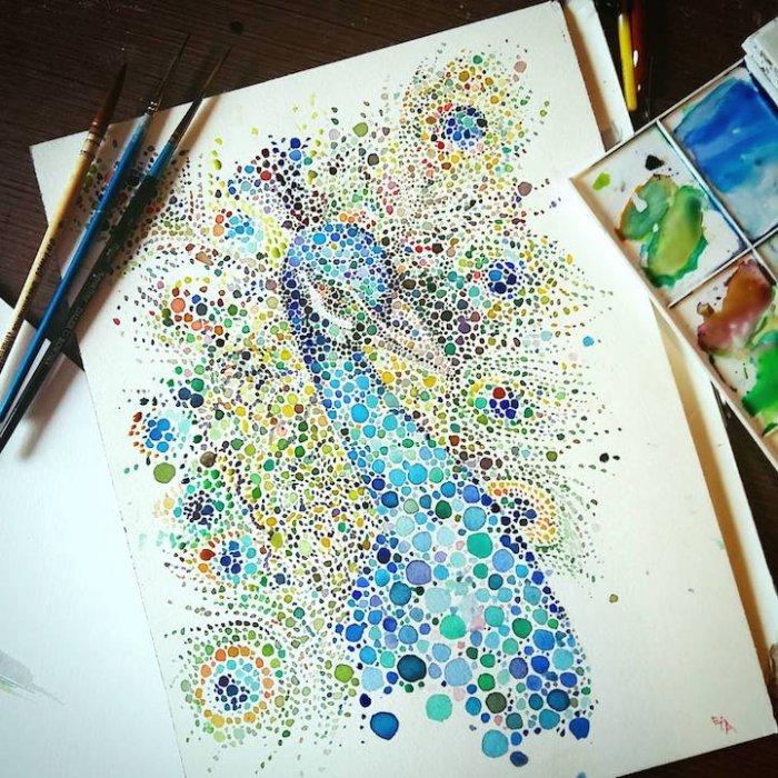 Рисунок акварелью и точками