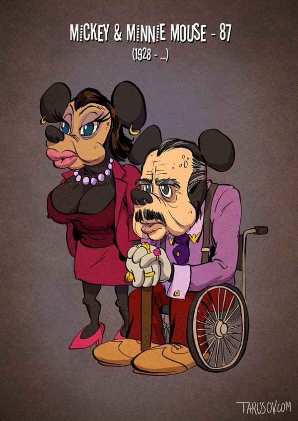 Постаревшие мультперсонажи в иллюстрациях Андрея Тарусова (10 фото)